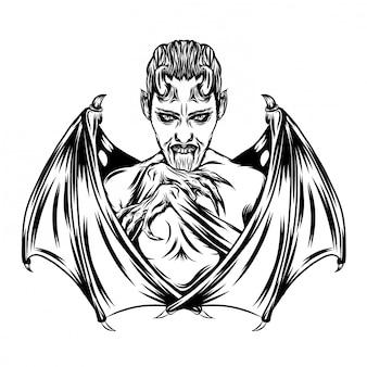 Ilustracja chłopca draculi z nietoperzem ostrym skrzydłem