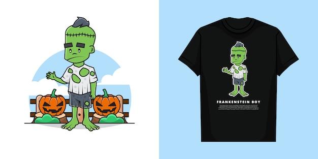Ilustracja chłopca frankensteina w halloween z projektem koszulki