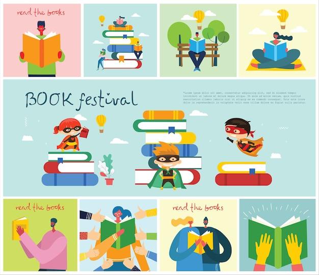 Ilustracja chłopca i dziewczyny czytającej książkę