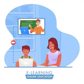 Ilustracja chłopca mającego edukację online z laptopa w pobliżu młodej dziewczyny pisze w książce na temat zatrzymania koronawirusa.