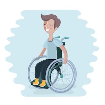 Ilustracja chłopca na wózku inwalidzkim
