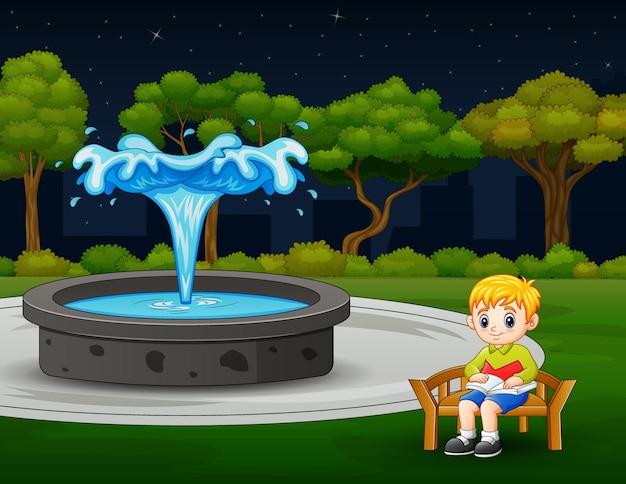 Ilustracja chłopca siedzącego i czytającego książkę w pobliżu fontanny