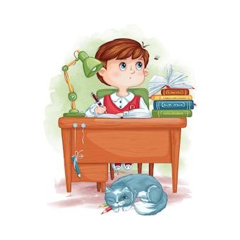 Ilustracja chłopca ucznia pisze i patrzy na latającą pszczołę. dziecko odrabia lekcje.