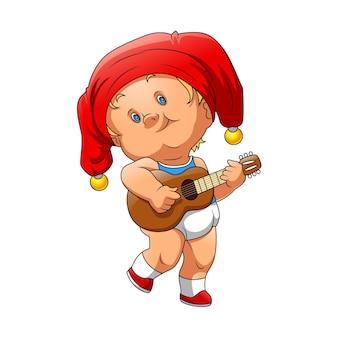 Ilustracja chłopca używającego czerwonego kapelusza klauna i trzymającego brązową gitarę