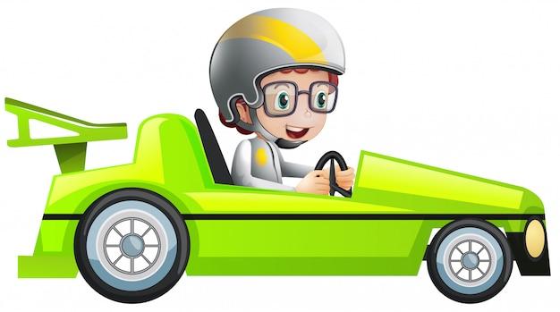 Ilustracja chłopca w zielonym samochodzie wyścigowym