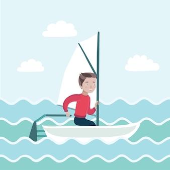 Ilustracja chłopca żeglującego po morzu i rządzi łodzią