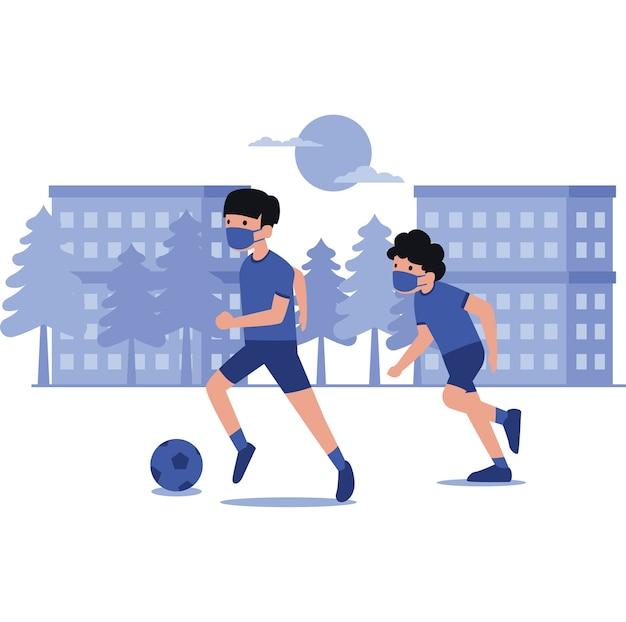 Ilustracja chłopców grających w piłkę nożną