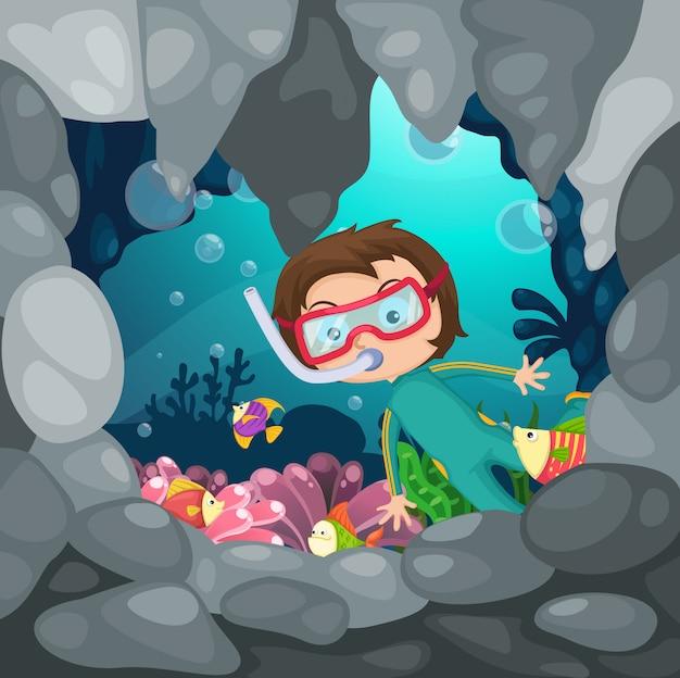 Ilustracja chłopiec akwalungu pikowanie