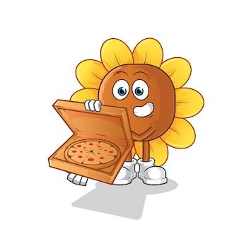 Ilustracja chłopiec dostawy pizzy kwiat słońca