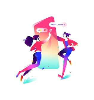 Ilustracja chłopiec i dziewczyna z smartphone