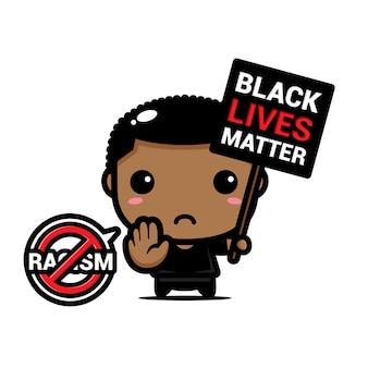 Ilustracja chłopiec z symbolem zatrzymania rasizmu