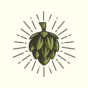 Ilustracja chmielu logo wektor maskotka ikona