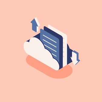 Ilustracja chmura z pojęciem obłoczny magazyn