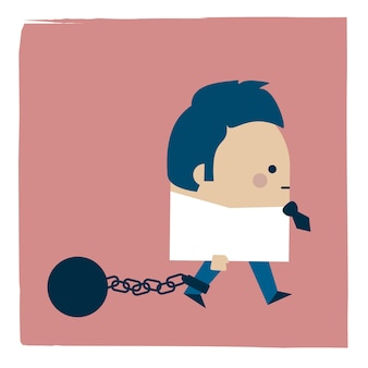 Ilustracja chodzenia w niewoli biznesmena
