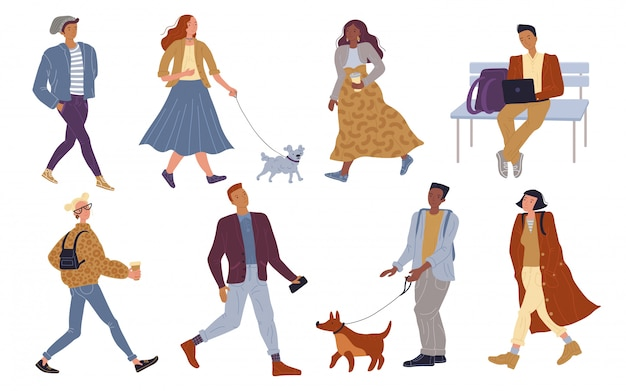Ilustracja chodzenie tłum obywatel na zewnątrz
