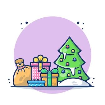 Ilustracja choinki z pudełkiem i torbą mikołaja