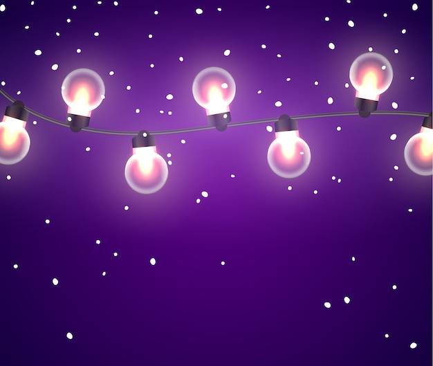 Ilustracja christmas lights. xmas kolorowy jasny sznurek ze świecącą żarówką. projekt dekoracji uroczystości party. element wakacyjny.