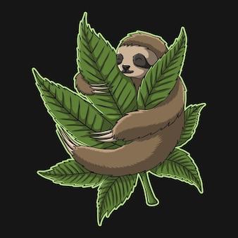 Ilustracja chwastów uścisk leniwca