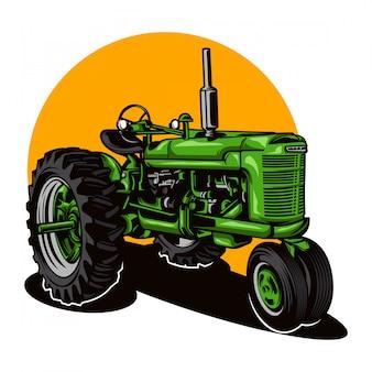 Ilustracja ciągnika rolniczego na jednolitym kolorze