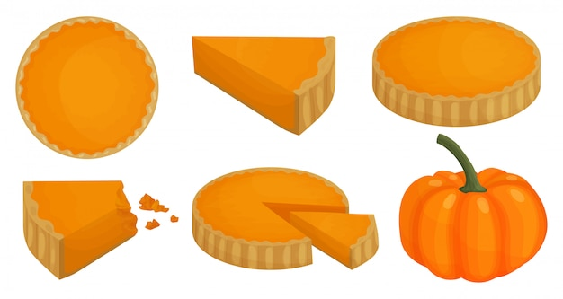 Ilustracja ciasto z dyni. kreskówka zestaw ikona ciasto dziękczynienia.