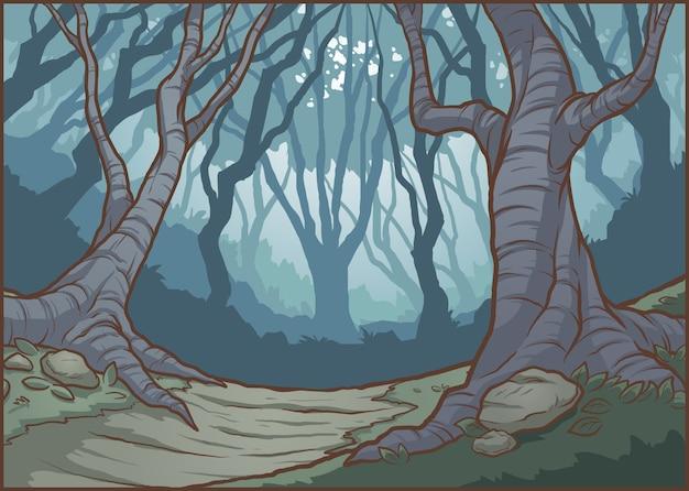 Ilustracja ciemnego lasu