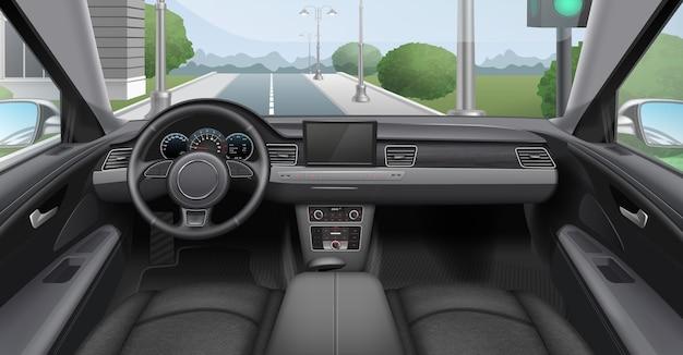 Ilustracja ciemnego wnętrza samochodu z przednią szybą deski rozdzielczej