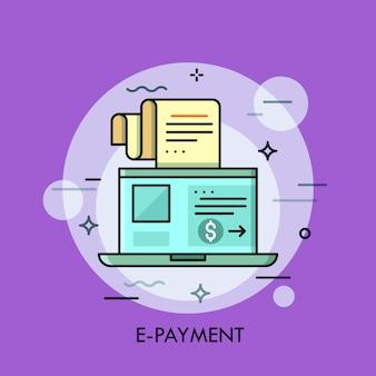 Ilustracja cienkiej linii płatności elektronicznych