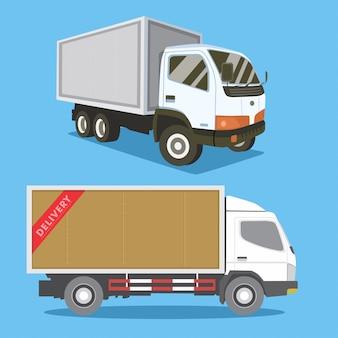 Ilustracja ciężarówek dostawczych