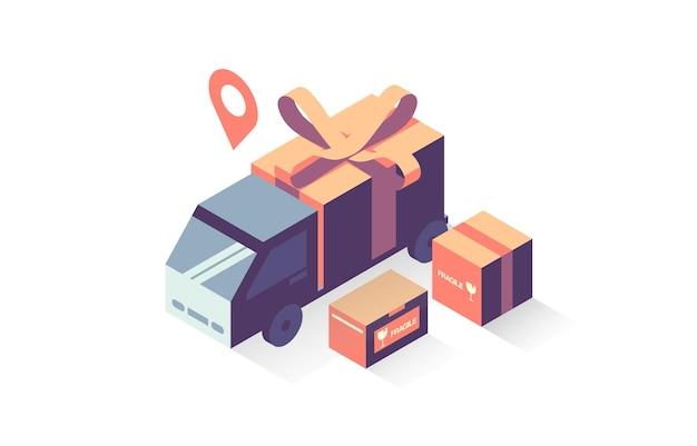 Ilustracja ciężarówki dostarczającej paczkę z owiniętym pudełkiem prezentowym w izometrii
