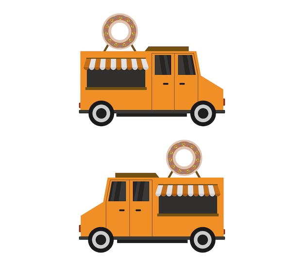 Ilustracja ciężarówki dostawcze pączki