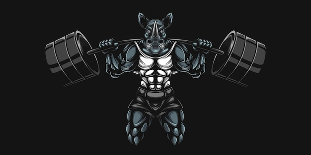 Ilustracja ciężkiego nosorożca i hantla