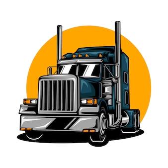 Ilustracja ciężkiej ciężarówki z jednolitym kolorem
