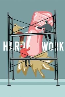 Ilustracja ciężkiej pracy