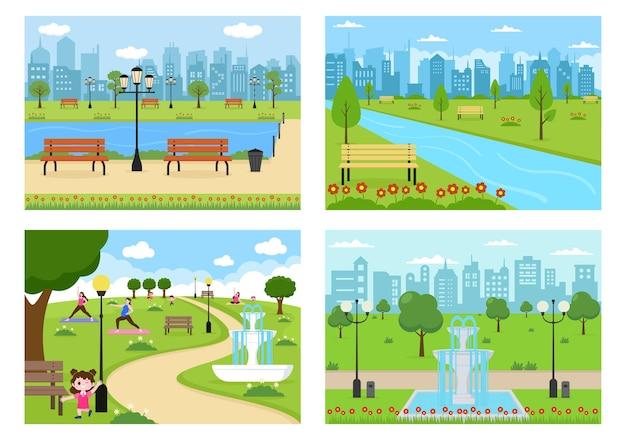 Ilustracja city park dla osób uprawiających sport, relaks, zabawę lub rekreację z zielonym drzewem i trawnikiem. krajobraz miejski tło