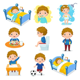 Ilustracja codziennych rutynowych czynności uroczego chłopca