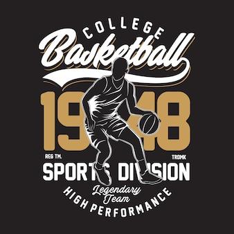 Ilustracja college basketball w płaskiej konstrukcji