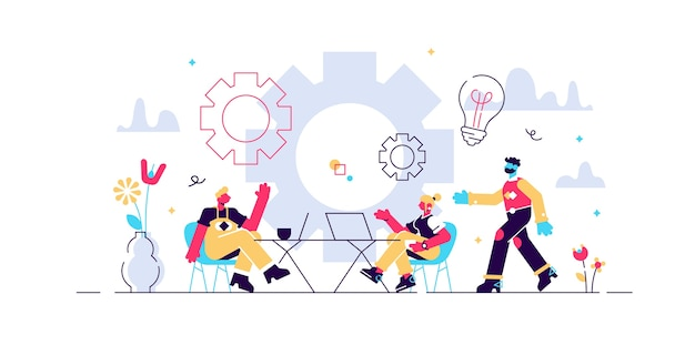 Ilustracja coworkingowa. stylizowany baner z osobami dzielącymi biuro. samodzielna, oparta na współpracy, elastyczna i wolontariacka praca dla hipsterów i freelancerów. nowoczesna burza mózgów i rozmowa.