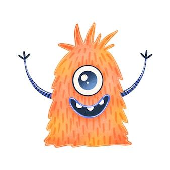 Ilustracja cudzoziemca ładny pomarańczowy kreskówka. ładny potwór na białym tle.