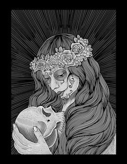 Ilustracja cukrowa czaszka kobieta w stylu grawerowania