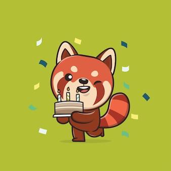 Ilustracja cute animal red panda