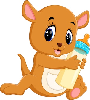Ilustracja cute baby kangur gospodarstwa butelkę mleka