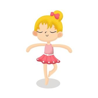 Ilustracja cute ballerina z happy face w stylu cartoon
