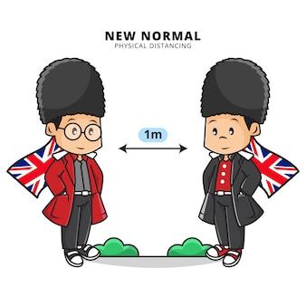 Ilustracja cute boya noszącego angielski mundur warty z dystansem fizycznym w nowej erze normalnej