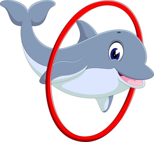 Ilustracja cute cartoon delfinów