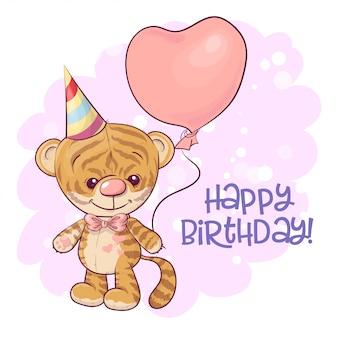 Ilustracja cute cartoon tygrys cub z balonami. wektor