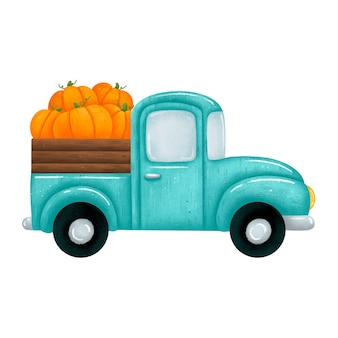 Ilustracja cute cartoon zielony samochód pickup z pomarańczowymi dyniami. jesienne żniwa rolnicze ciężarówka na białym tle