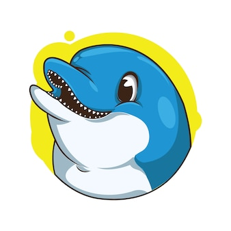 Ilustracja cute delfina awatara