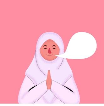 Ilustracja cute girl noszenie hidżab pozdrowienia