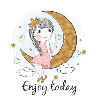 Ilustracja cute girl usiąść na złoto księżyca