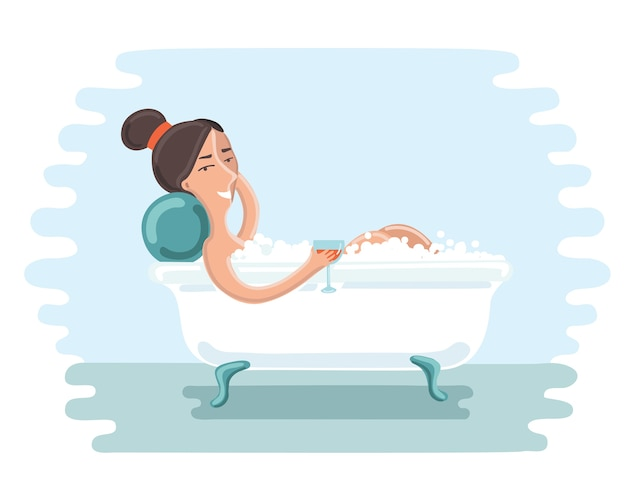 Ilustracja cute girl wziąć kąpiel